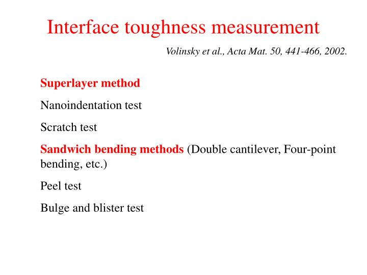Interface toughness measurement
