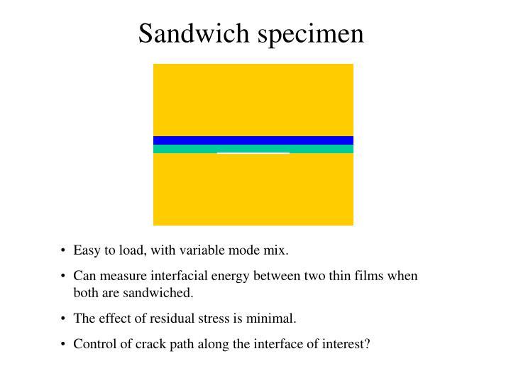 Sandwich specimen