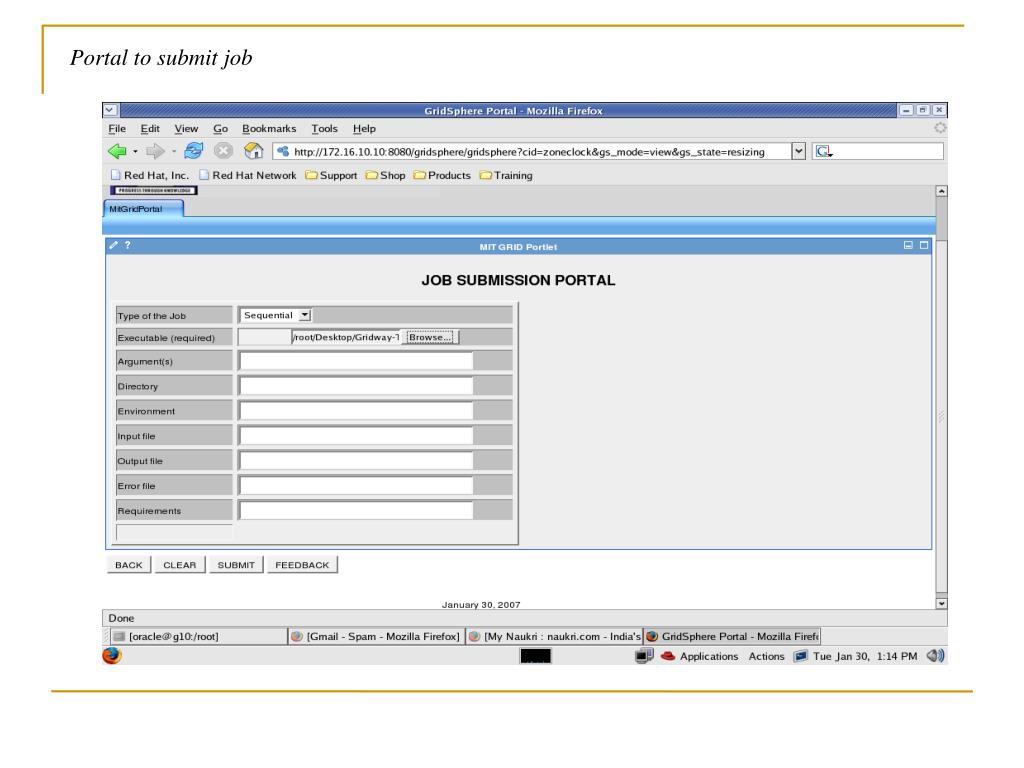 Portal to submit job