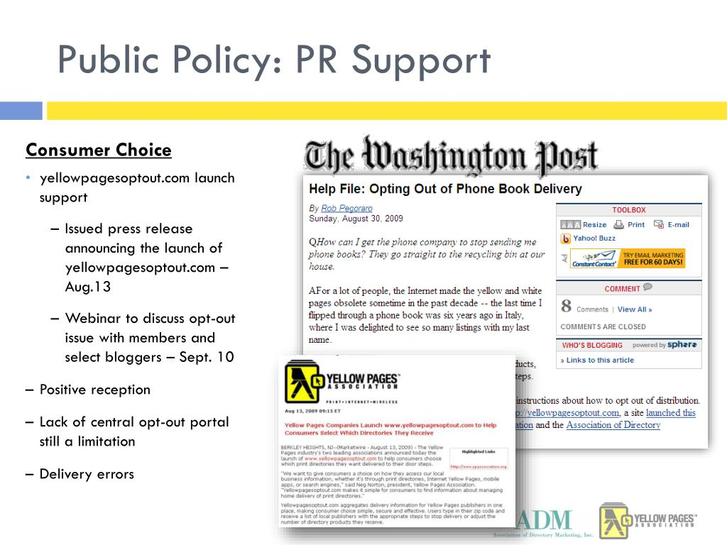Public Policy: PR Support