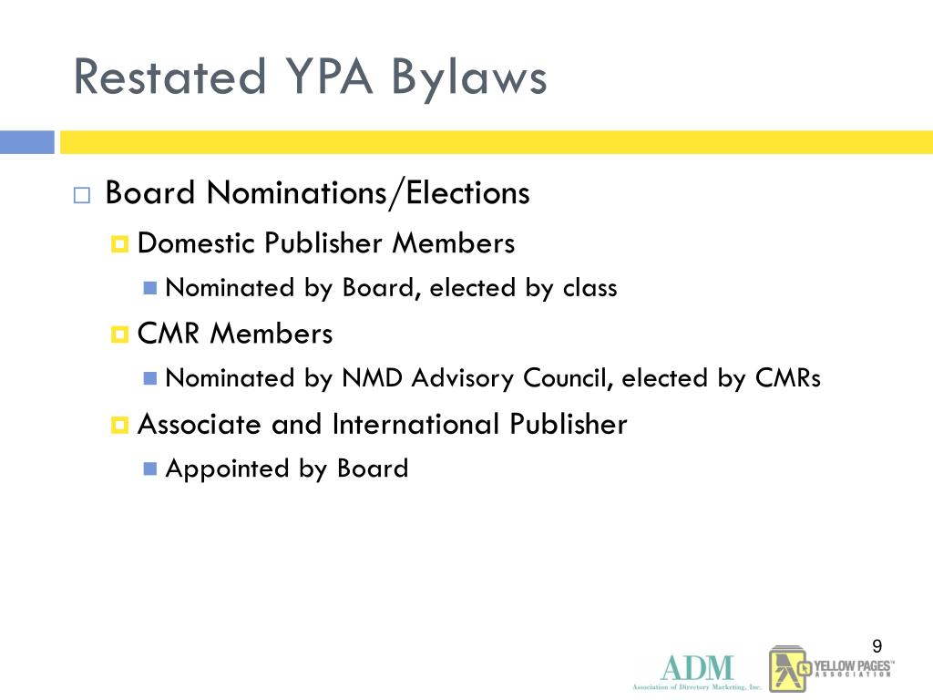 Restated YPA Bylaws