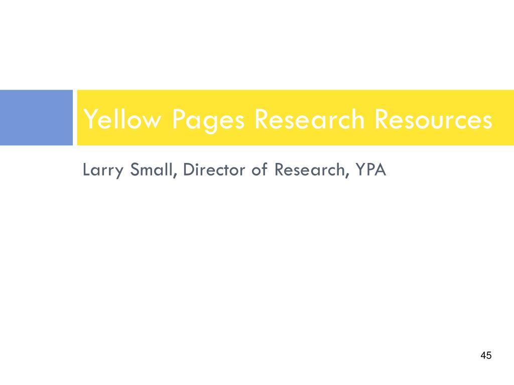 Larry Small, Director of Research, YPA