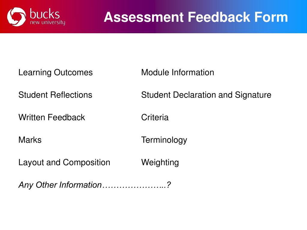 Assessment Feedback Form