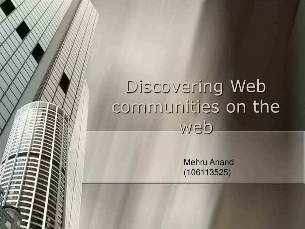 Discovering Web communities on the web