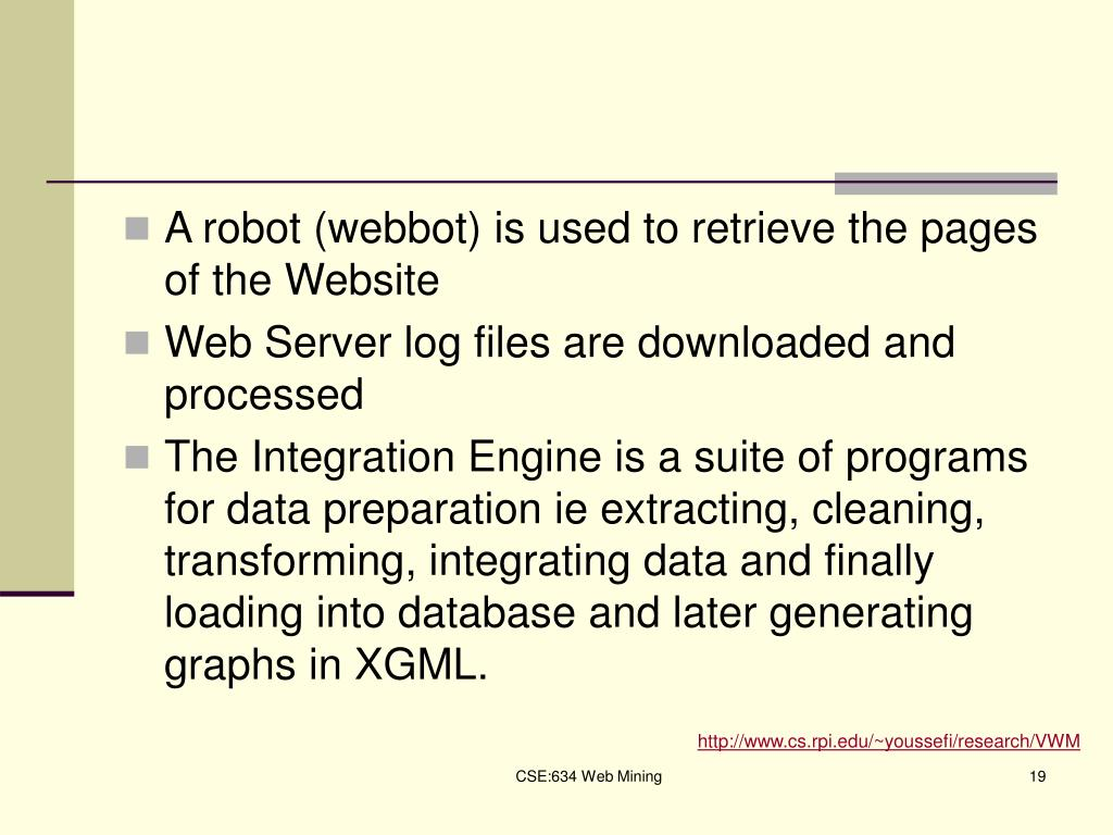 A robot (webbot) is used to retrieve the pages of the Website
