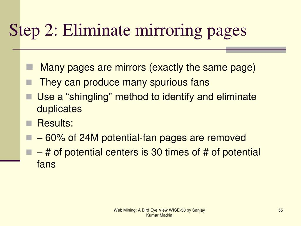 Step 2: Eliminate mirroring pages
