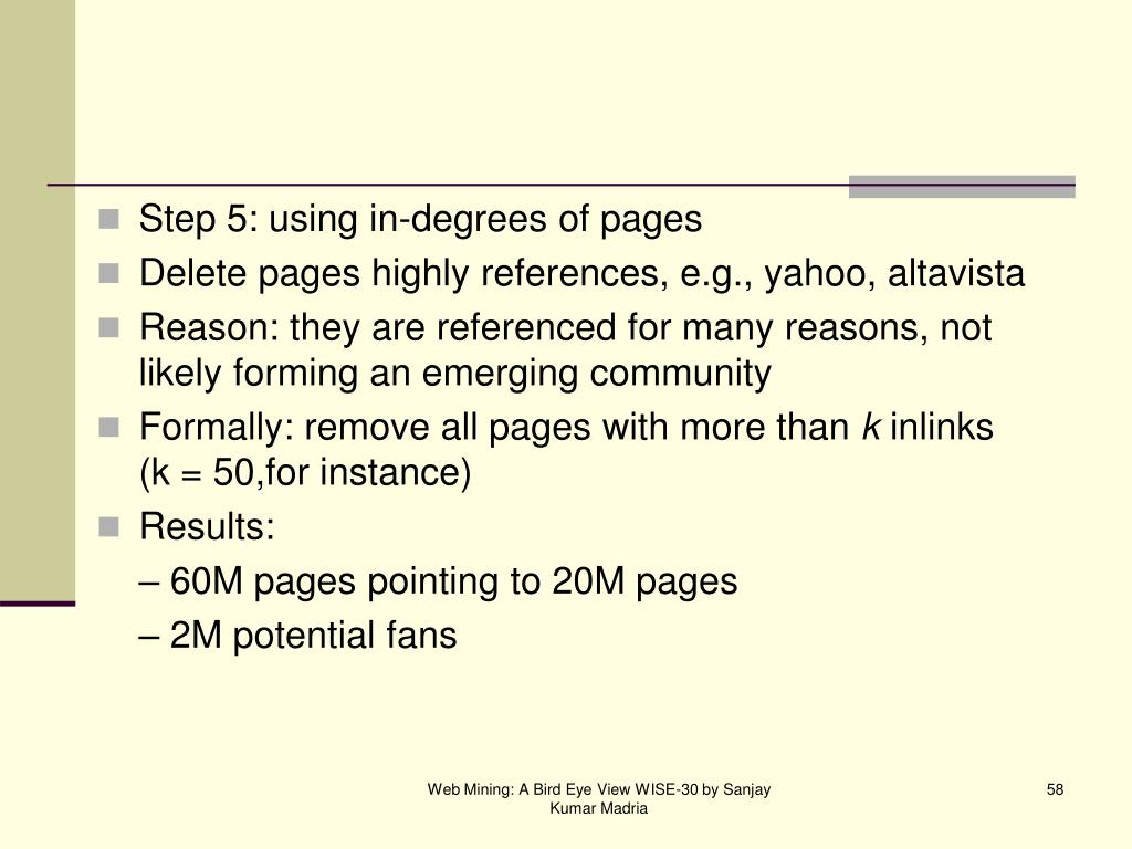 Step 5: using in-degrees of pages