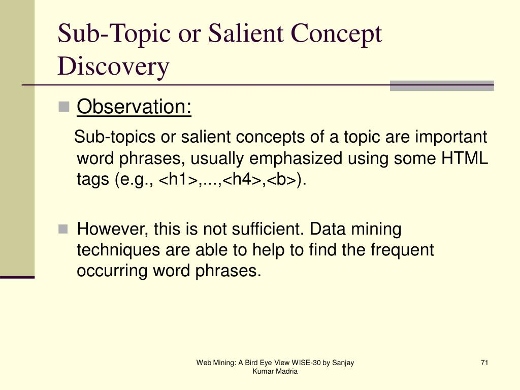 Sub-Topic or Salient Concept Discovery