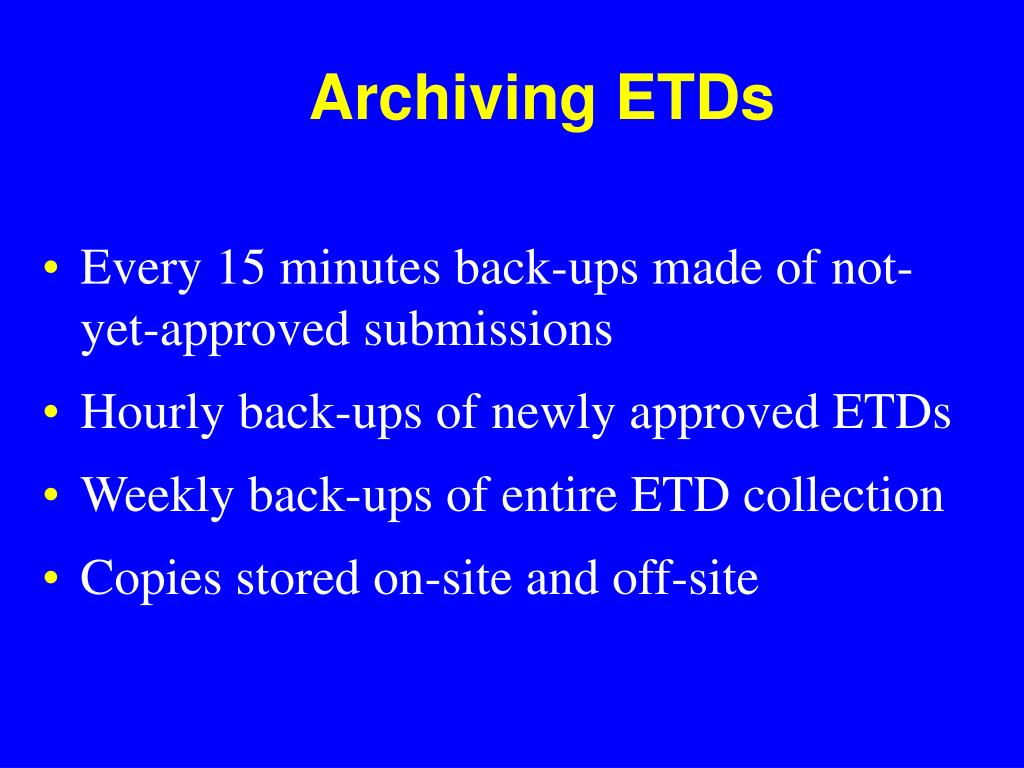 Archiving ETDs