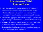expectations of nsdl programtracks