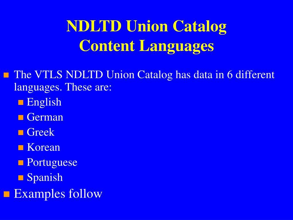 NDLTD Union Catalog