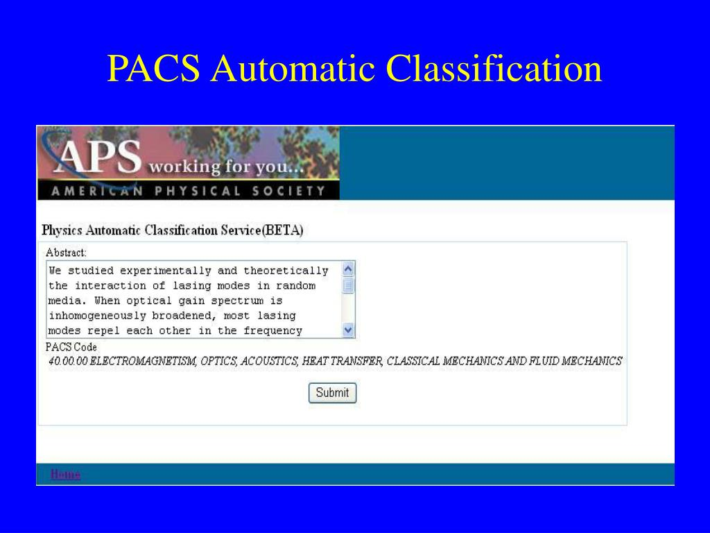 PACS Automatic Classification