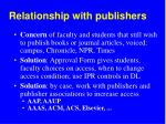relationship with publishers