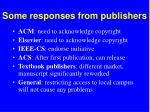 some responses from publishers