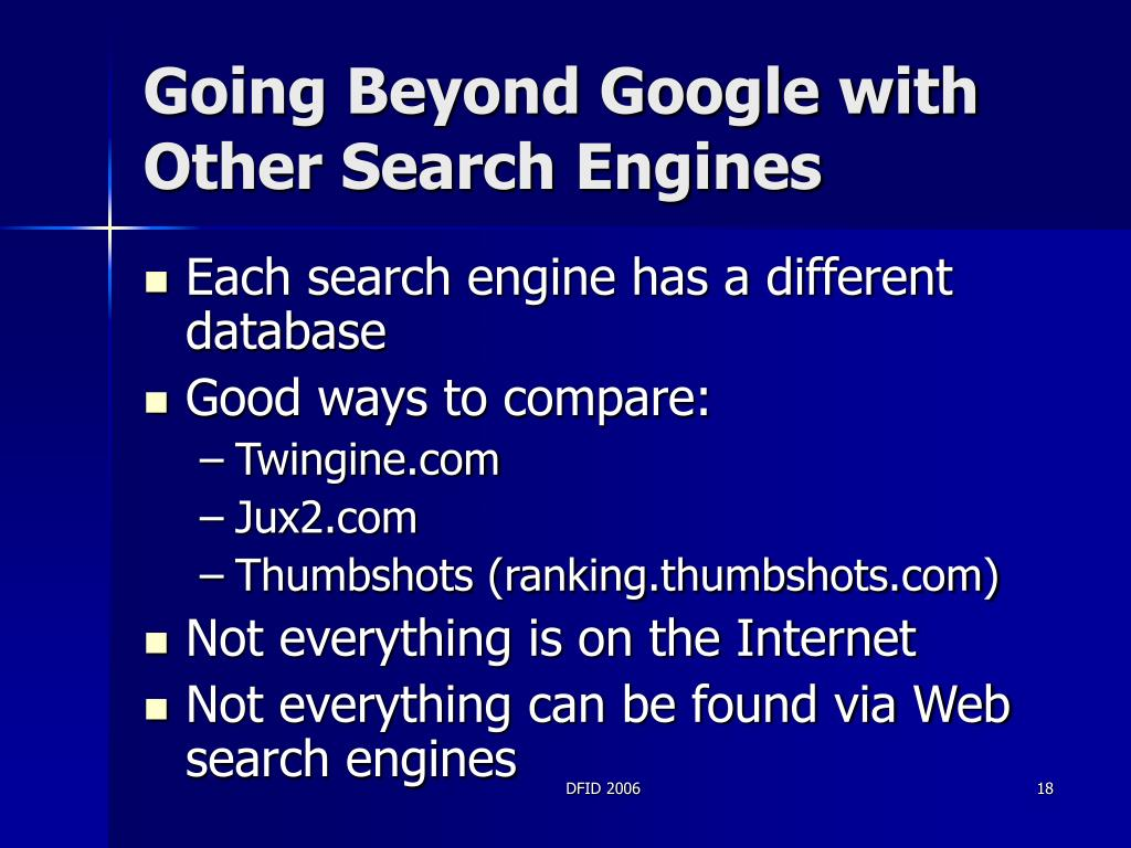 Going Beyond Google with Other Search Engines