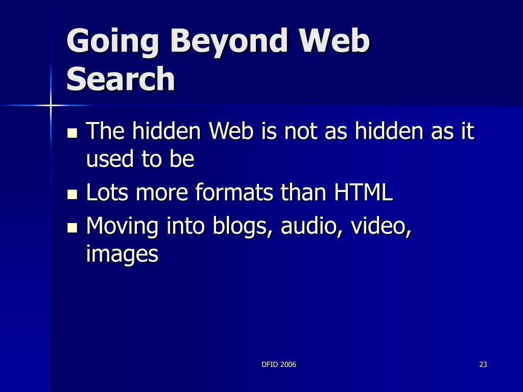 Going Beyond Web Search