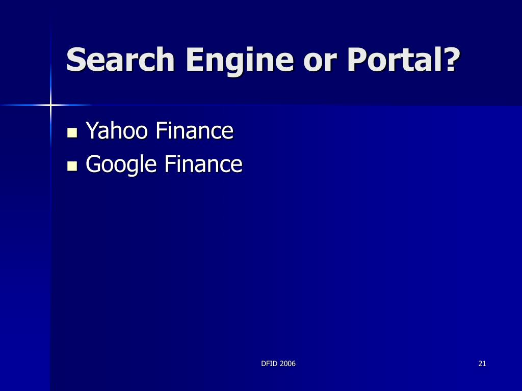 Search Engine or Portal?