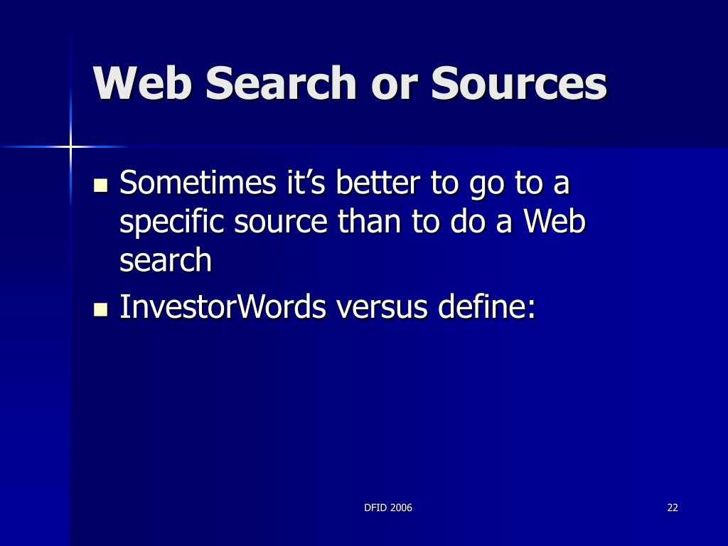 Web Search or Sources