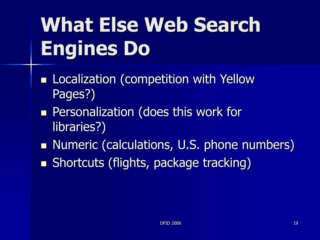 What Else Web Search Engines Do