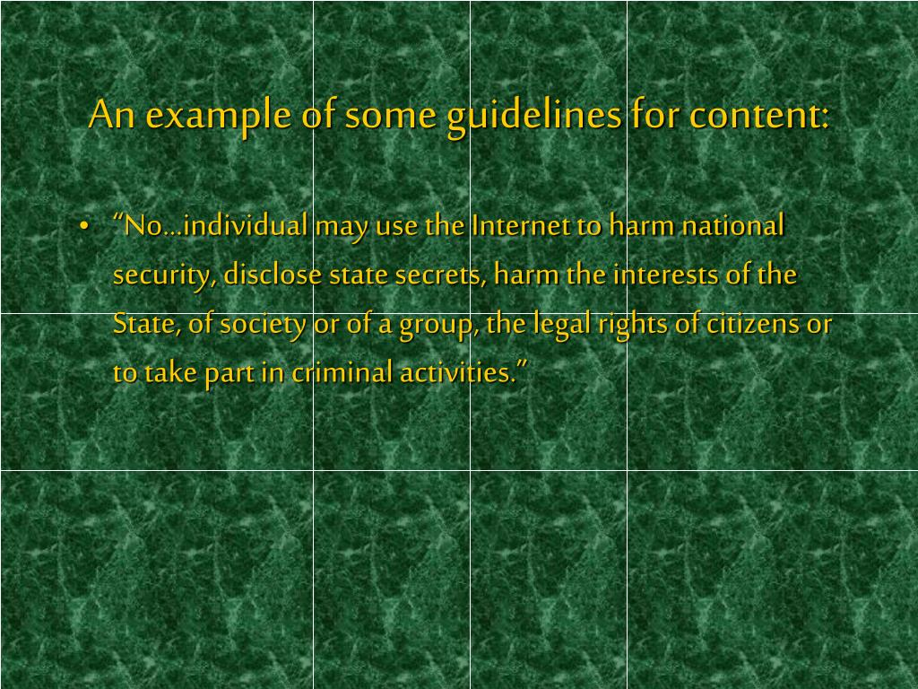 An example of some guidelines for content:
