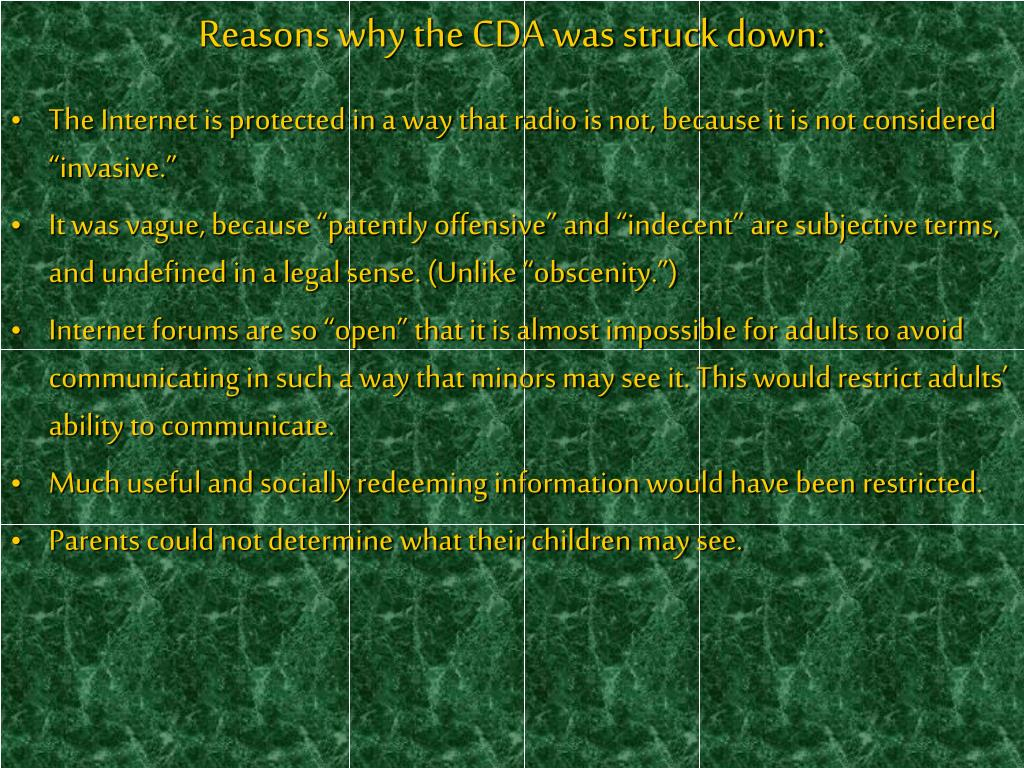 Reasons why the CDA was struck down: