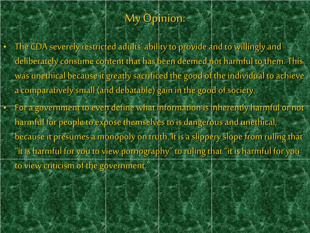 My Opinion: