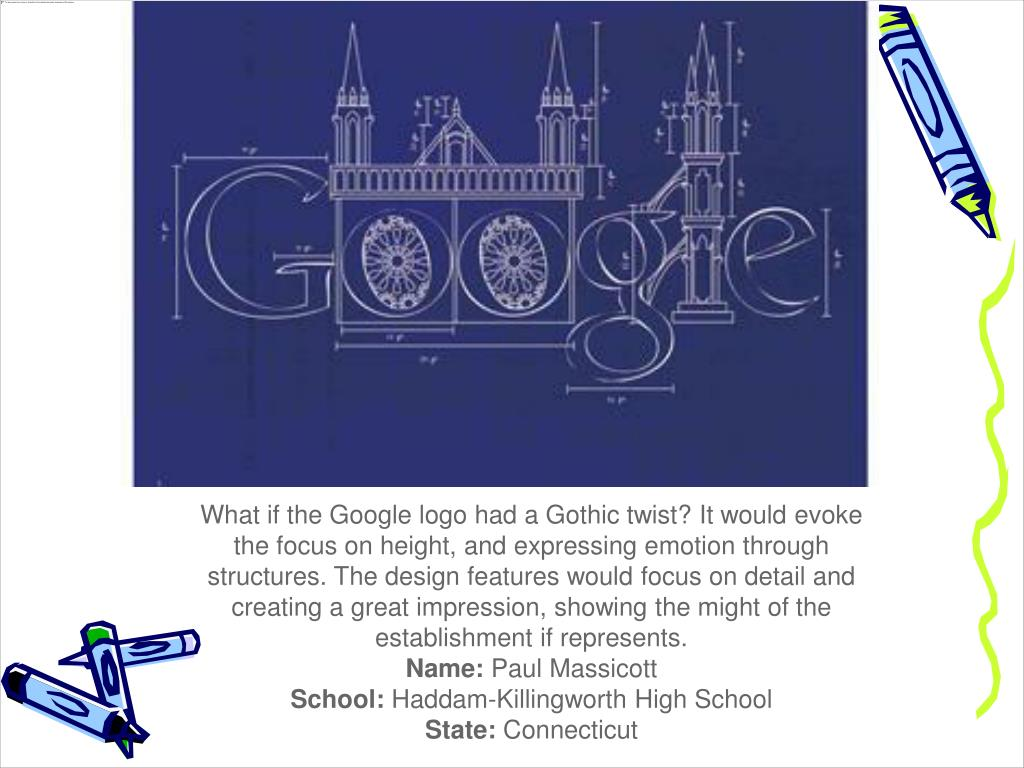 What if the Google logo had a Gothic twist? It would evoke the focus on height, and expressing emotion through structures. The design features would focus on detail and creating a great impression, showing the might of the establishment if represents.