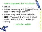 your assignment for this week