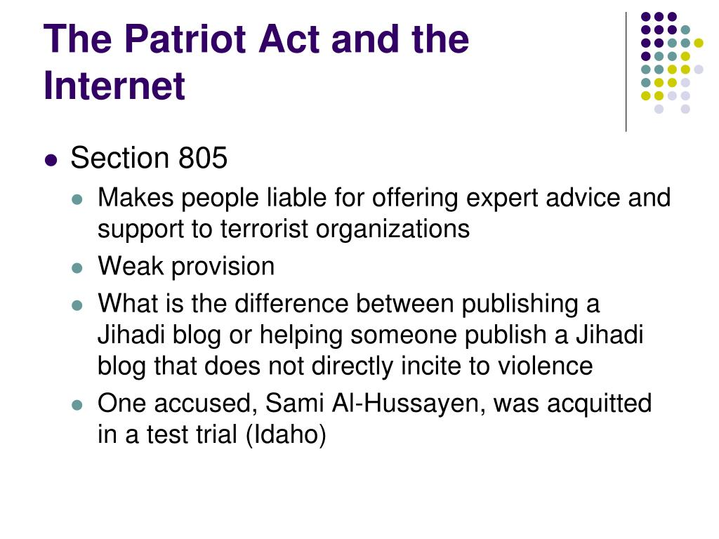 The Patriot Act and the Internet
