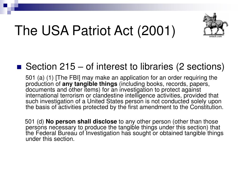 The USA Patriot Act (2001)