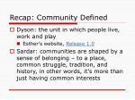 recap community defined