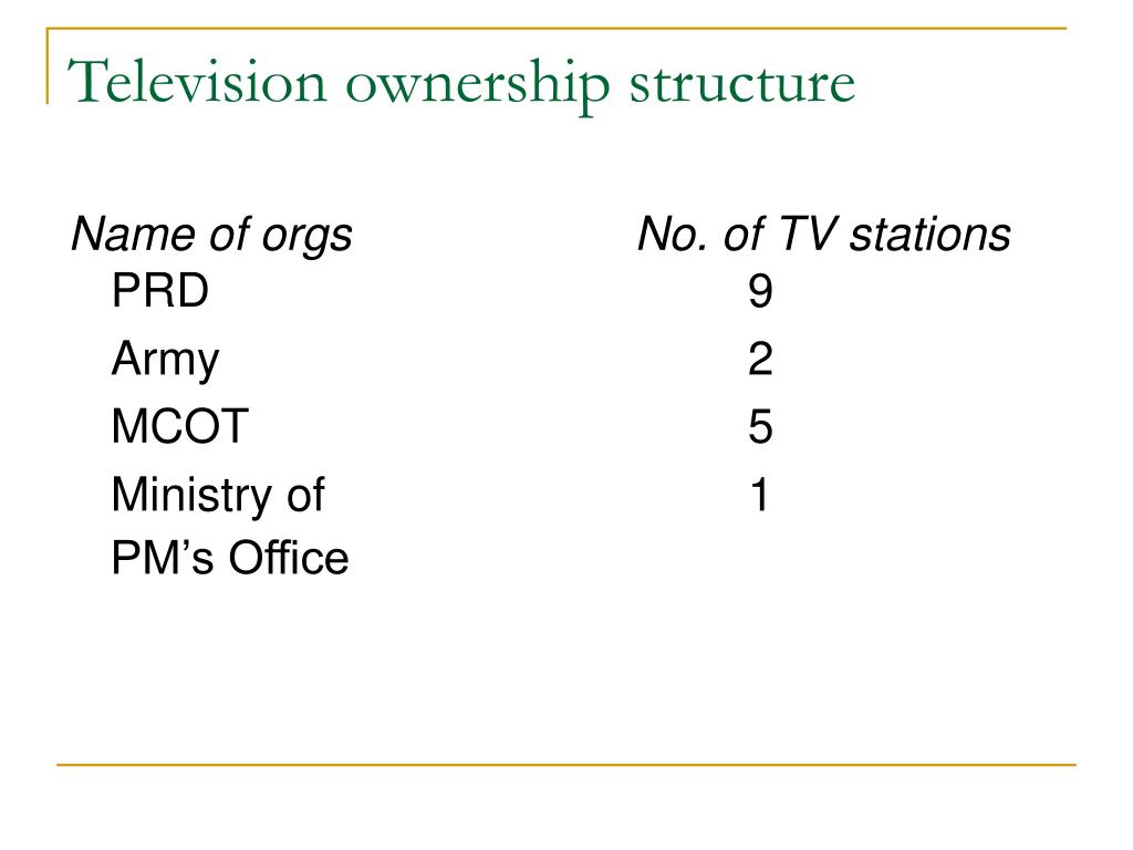 Television ownership structure