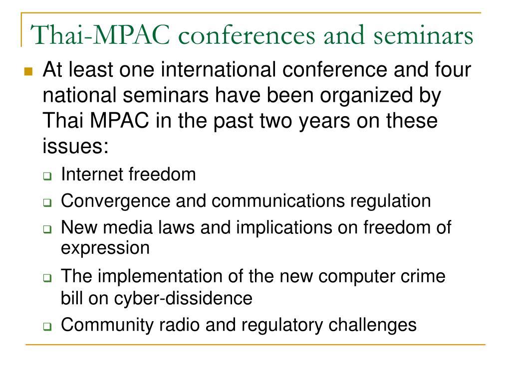 Thai-MPAC conferences and seminars
