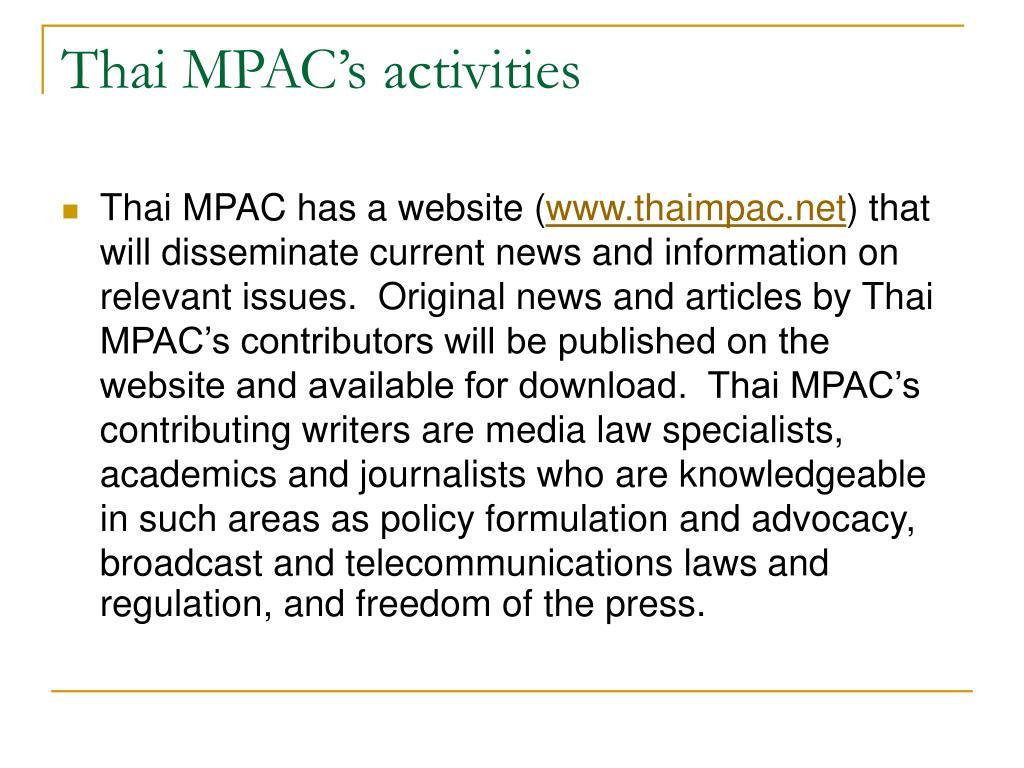 Thai MPAC's activities