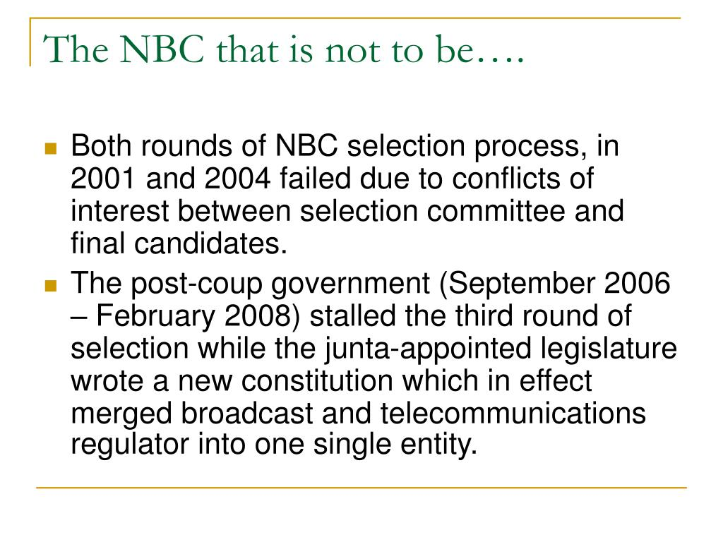 The NBC that is not to be….