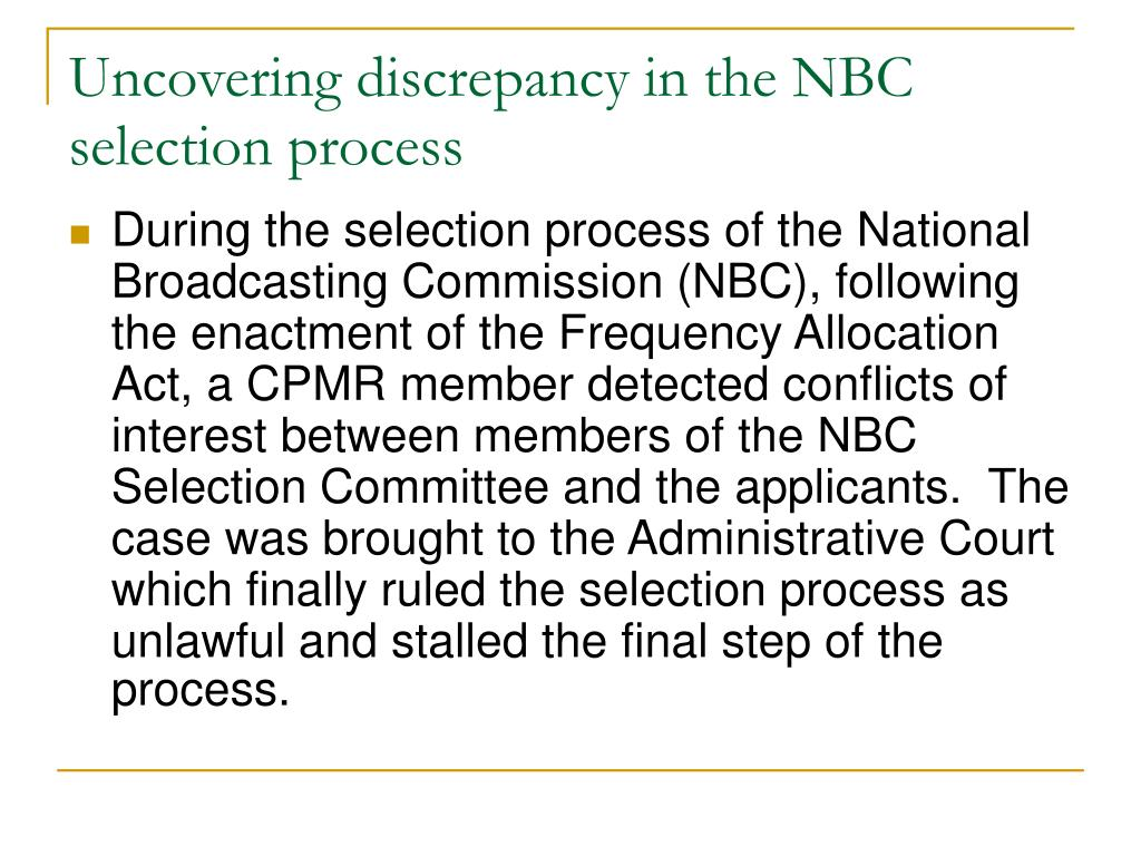 Uncovering discrepancy in the NBC selection process