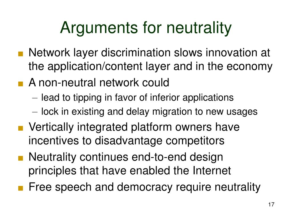 Arguments for neutrality