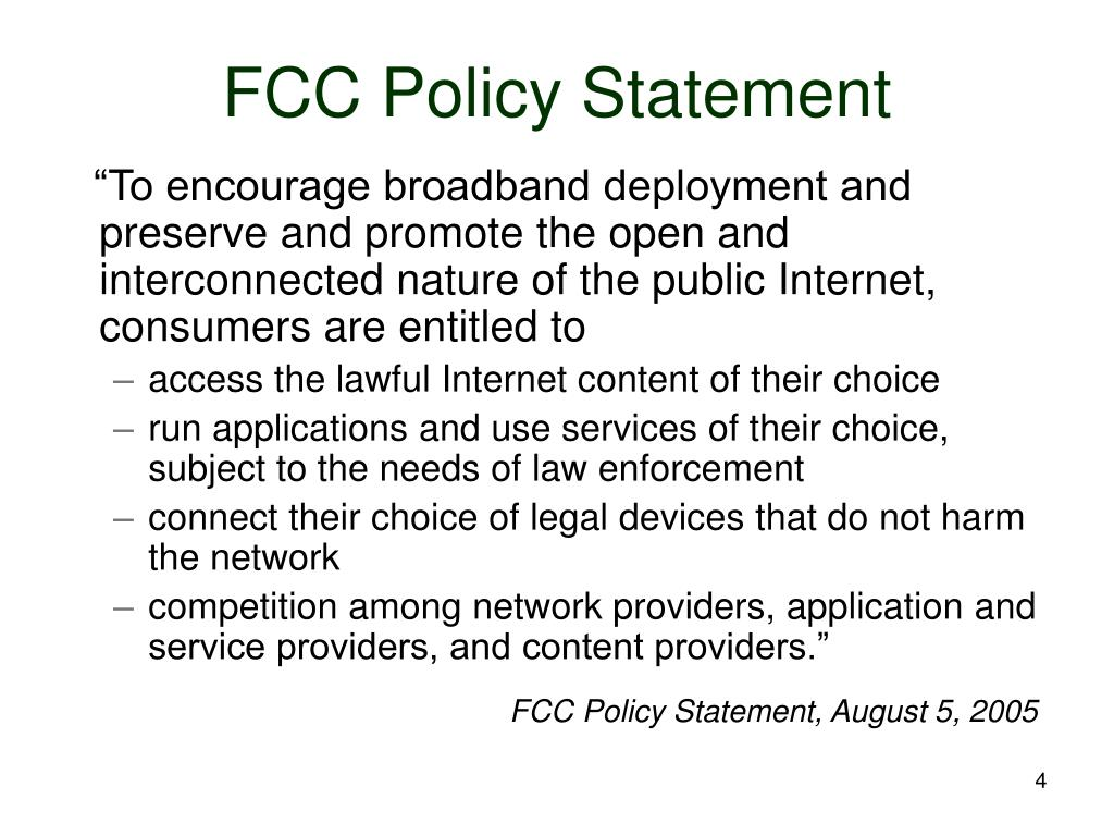 FCC Policy Statement