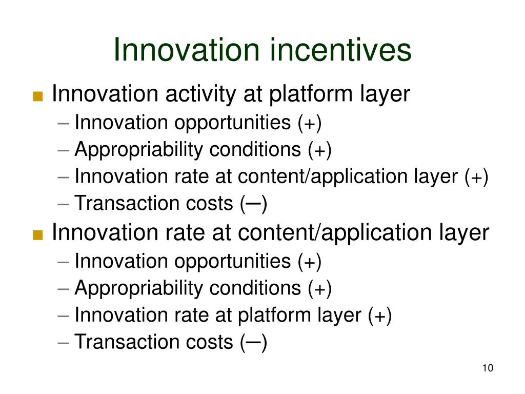 Innovation incentives