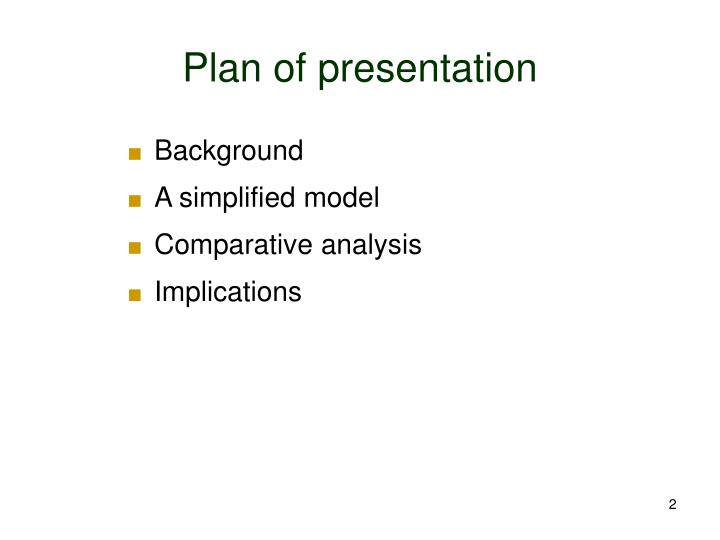 Plan of presentation