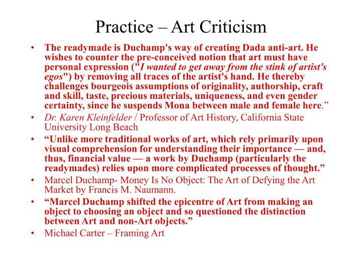 Practice – Art Criticism