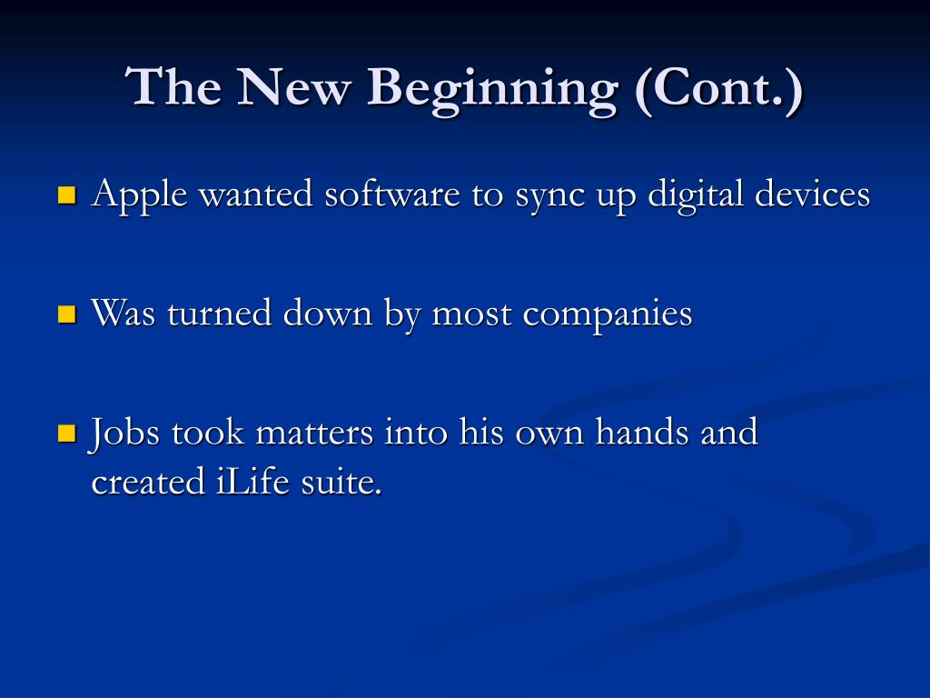 The New Beginning (Cont.)
