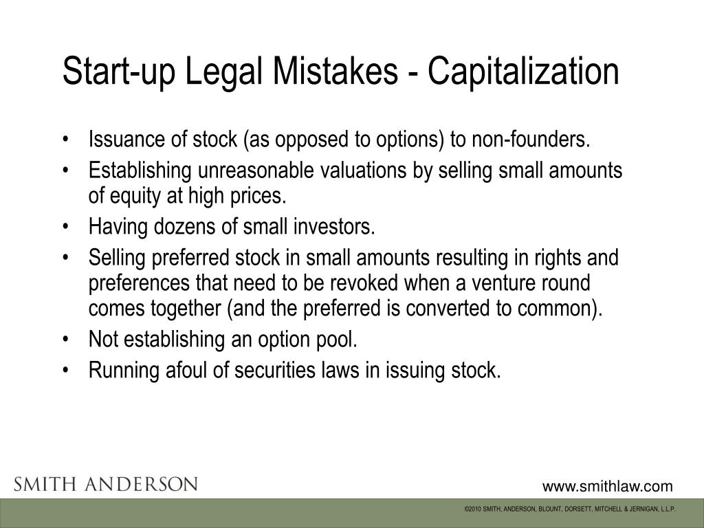 Start-up Legal Mistakes - Capitalization