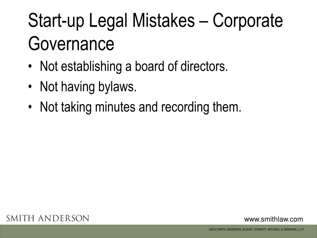 Start-up Legal Mistakes – Corporate Governance