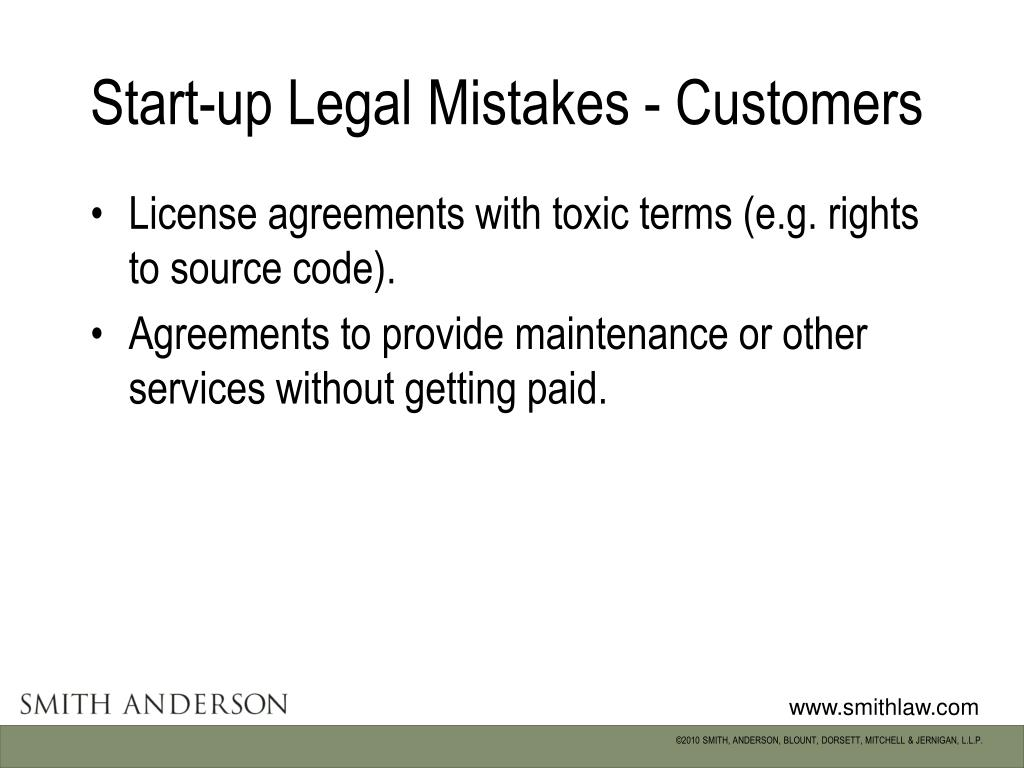Start-up Legal Mistakes - Customers
