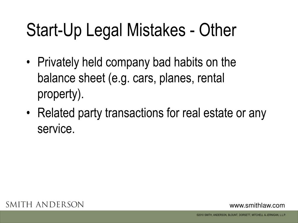 Start-Up Legal Mistakes - Other