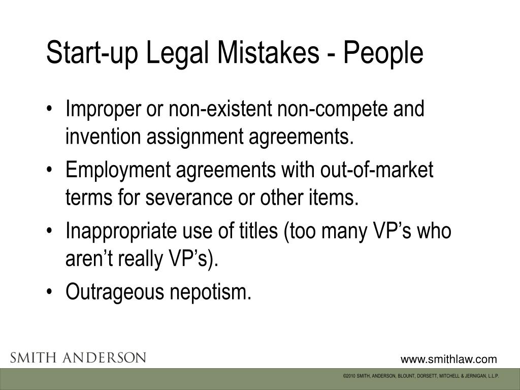 Start-up Legal Mistakes - People
