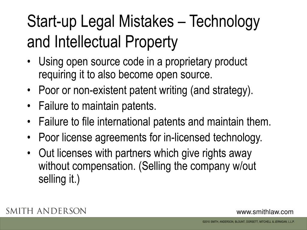 Start-up Legal Mistakes – Technology and Intellectual Property