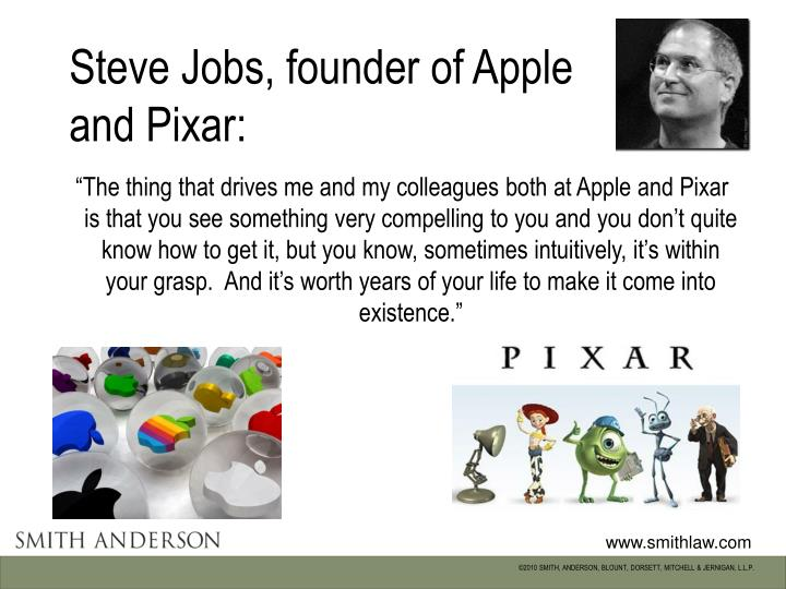 Steve jobs founder of apple and pixar