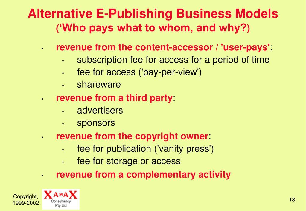 Alternative E-Publishing Business Models